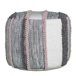 Pouf Cloud Braided | Pink & Grey