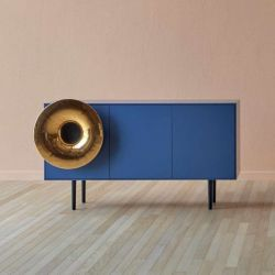 Cabinet Sound System Large | Blau & Gold