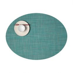 Oval Placemat | Vinyl Mini Basketweave | Turquoise