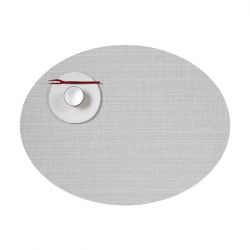 Ovale Placemat | Vinyl | Mini Basketweave | Wit