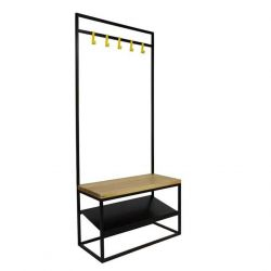 MR. COSY WITH SHELF Coat Stand | Black Matt & Oak