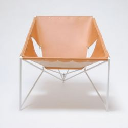 MLS 920 Lounge Chair | Natural Leather/White
