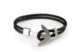 Men Bracelet Braid Anchor | Black & Silver