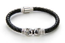 Männer Armband Schädel | Schwarz & Silber