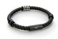 Men Bracelet Leather & Stainless Steel | Black