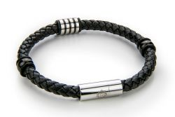 Men Bracelet Leather & Stainless Steel | Black & Silver