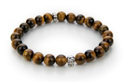 Men Bracelet Tiger Eye 60 mm | Brown & Silver