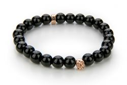 Men Bracelet Onyx 52 mm | Black & Rose Gold