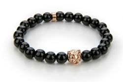 Men Bracelet Onyx 56 mm | Black & Rose Gold