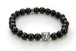 Men Bracelet Onyx 56 mm | Black & Silver