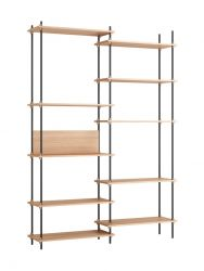 Shelving System Set 07 - Tall Double | Light Wood & Black