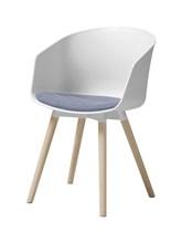 Stuhl Foon 30 mit violettem Stoffkissen | Weiß