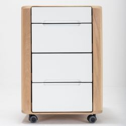 Office Drawer Ena | White Hardwax Oiled
