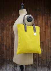 Yellow Handbag Suede Calf