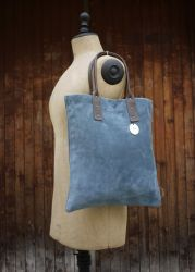 Blue Handbag Suede Calf