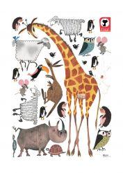 Wandaufkleber 85 x 119 cm | Set mit 24 Aufklebern | Tiere XL