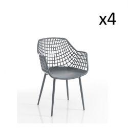 4er-Set | Sessel Nairobi | Grau