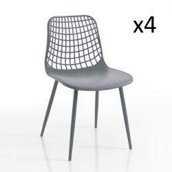 Innen-/Außenbereich Stuhl Nairobi 4er-Satz | Grau