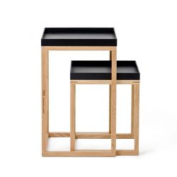 Side Tables Nest Set of 2 | Black & Oak