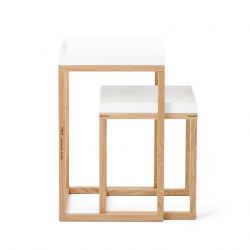 Side Tables Nest Set of 2 | White & Oak