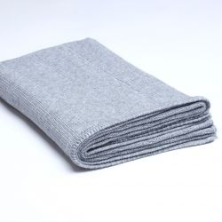 Ribbed Knitted Throw | Medium Grey