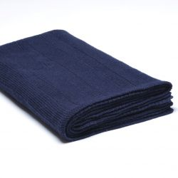 Ribbed Knitted Throw | Navy Blue