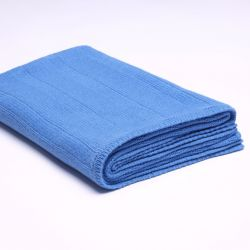 Ribbed Knitted Throw | Royal Blue