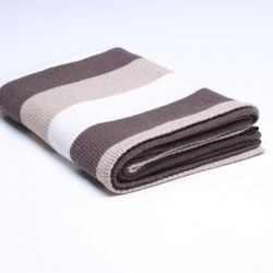 Stocking Knitted Throw | Dark Dove / Beige / Cream