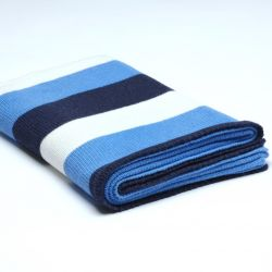 Stocking Knitted Throw | Navy Blue / Royal Blue / Cream
