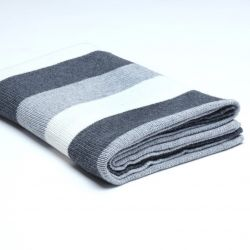 Stocking Knitted Throw | Dark Grey / Medium Grey / Cream