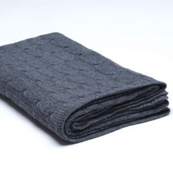 Braided Knitted Throw | Dark Grey