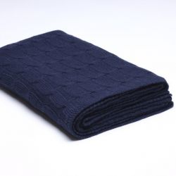 Braided Knitted Throw | Navy