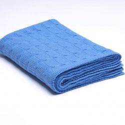 Braided Knitted Throw | Royal Blue
