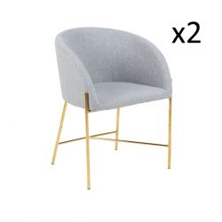 Stühle Nel 2er-Satz | Grau / Gold