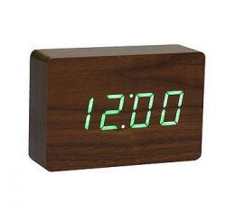 Ziegel-Klick-Uhr | Nussbaum / Grün
