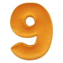 Kissen Samt Nummer Gelb  | 9