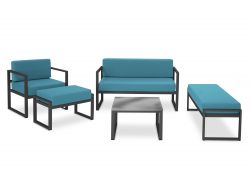 Outdoor Lounge Set Nicea | Dark Grey Frame & Blue