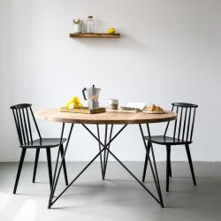 Oak Steel Table Round