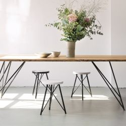 Oak Steel Table Slim 220 x 90 cm