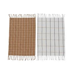Tea Towels Gobi Set of 2 | Off-white & Camel