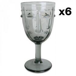 Weingläser Gesicht 6er-Set | Grau
