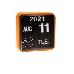 Horloge Murale Mini Flip | Noir & Orange