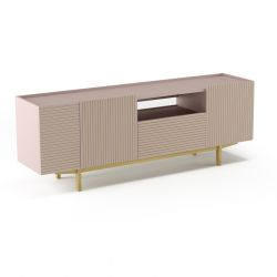 TV Stand Orto L | Open Low | Puder Pink & Oak Frez