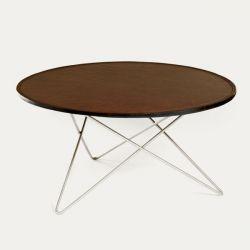 O Tisch | Cognac-Leder/Edelstahl