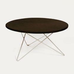 O Tisch | Mokka-Leder/Edelstahl