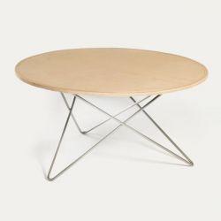 O Tisch | Natur Leder/Edelstahl