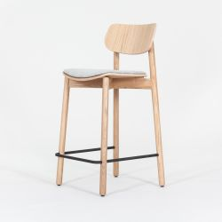 Bar Stool Otis Oak & Wool Seat Pad | Light Grey