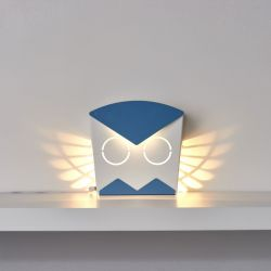 Wandlamp Uil | Aluminium | Aansluiting Blauw