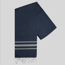Hammam Handtuch Streifen Vibe | Marine-Grau