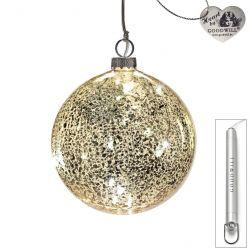 LED Weihnachtskugel aus Glas 10 cm Antique